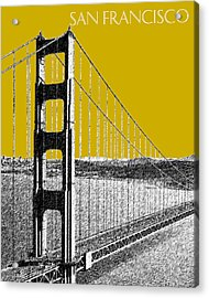 San Francisco Skyline Golden Gate Bridge 1 - Gold Acrylic Print by DB Artist