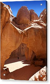 Sand Dune Arch With Gary Acrylic Print by Mike McGlothlen