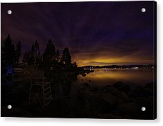 Sand Harbor Lake Tahoe Astrophotography Acrylic Print by Scott McGuire