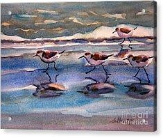 Sandpipers Running In Beach Shade 3-10-15 Acrylic Print by Julianne Felton
