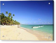 Sandy Beach On Caribbean Resort  Acrylic Print by Elena Elisseeva