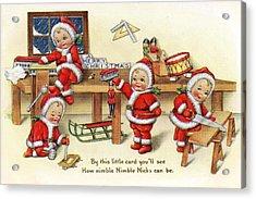 Santa Helpers At Work Acrylic Print by Munir Alawi