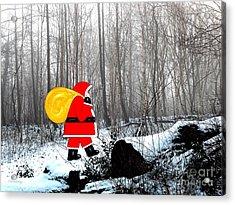Santa In Christmas Woodlands Acrylic Print by Patrick J Murphy