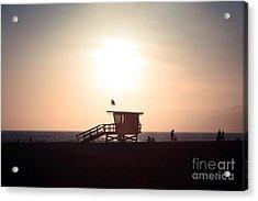Santa Monica Lifeguard Stand Sunset Photo Acrylic Print by Paul Velgos
