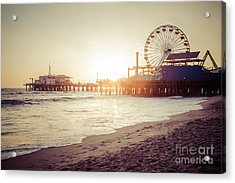Santa Monica Pier Retro Sunset Picture Acrylic Print by Paul Velgos
