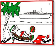 Santa On Vacation Acrylic Print by Genevieve Esson