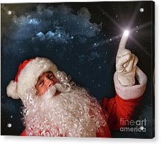 Santa Pointing With Magical Light To The Sky Acrylic Print by Sandra Cunningham