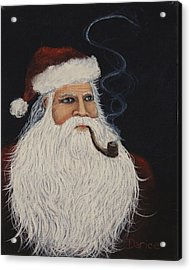 Santa With His Pipe Acrylic Print by Darice Machel McGuire