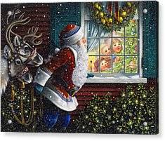 Santa's At The Window Acrylic Print by Lynn Bywaters