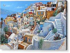 Santorini A Colori Acrylic Print by Guido Borelli