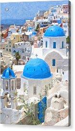 Santorini Oil Painting Acrylic Print by Antony McAulay