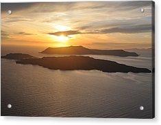 Santorini Sunset II Acrylic Print by Kathy Schumann