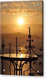 Santorini Sunset Acrylic Print by Kathy Schumann
