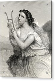 Sappho,illustration From World Noted Women By Mary Cowden Clarke, 1858 Engraving Acrylic Print by Pierre Gustave Eugene Staal