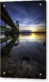 Sarah Long Bridge Sunset Acrylic Print by Eric Gendron