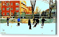 Saturday Afternoon Hockey Practice At The Neighborhood Rink Montreal Winter City Scene Acrylic Print by Carole Spandau