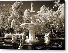 Savannah Georgia Fountain - Forsyth Fountain - Infrared Sepia Landscape Acrylic Print by Kathy Fornal