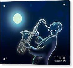 Sax-o-moon Acrylic Print by Bedros Awak