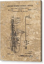 Saxophone Patent Design Illustration Acrylic Print by Dan Sproul
