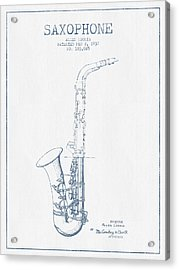 Saxophone Patent Drawing From 1937 - Blue Ink Acrylic Print by Aged Pixel