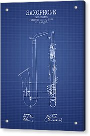 Saxophone Patent From 1899 - Blueprint Acrylic Print by Aged Pixel