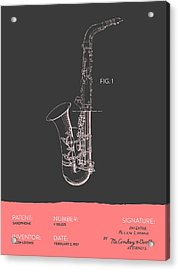 Saxophone Patent From 1937 - Gray Salmon Acrylic Print by Aged Pixel