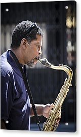 Saxophone Player Acrylic Print by Carolyn Marshall