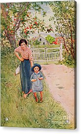 Say A Nice How Do You Do To Your Uncle Acrylic Print by Carl Larsson