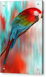 Scarlet- Red And Turquoise Art Acrylic Print by Lourry Legarde