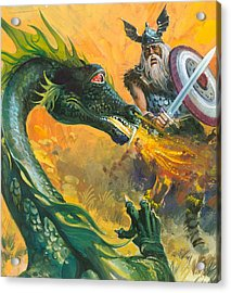 Scene From Beowulf Acrylic Print by Andrew Howat