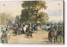 Scene In Hyde Park Acrylic Print by Eugene-Louis Lami