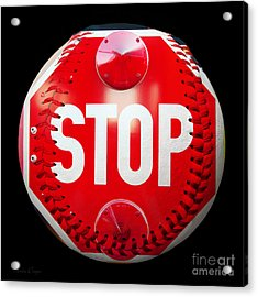 School Bus Stop Sign Baseball Square Acrylic Print by Andee Design