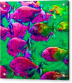 School Of Piranha V2 - Square Acrylic Print by Wingsdomain Art and Photography