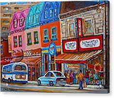 Schwartzs Deli Restaurant Montreal Smoked Meat Plateau Mont Royal Streetscene Carole Spandau Acrylic Print by Carole Spandau