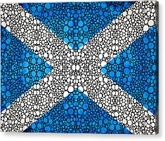 Scottish Flag - Stone Rock'd Scotland Art By Sharon Cummings Acrylic Print by Sharon Cummings