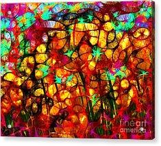 Scribble Flowers Acrylic Print by Elizabeth McTaggart