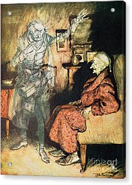 Scrooge And The Ghost Of Marley Acrylic Print by Arthur Rackham