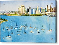 Sd Skyline Pen And Ink Acrylic Print by Mary Helmreich
