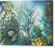 Sea Folk Acrylic Print by Nancy Tilles