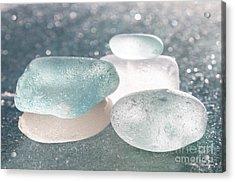 Sea Glass Aqua Shimmer Acrylic Print by Barbara McMahon