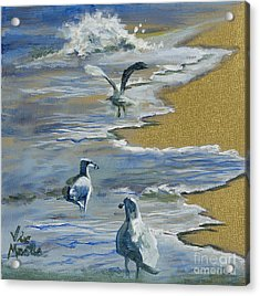 Sea Gulls With Gold Leaf By Vic Mastis Acrylic Print by Vic  Mastis