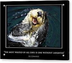 Sea Otter Motivational  Acrylic Print by Fabrizio Troiani
