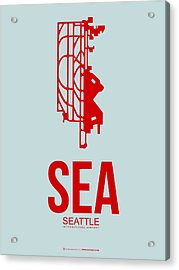 Sea Seattle Airport Poster 1 Acrylic Print by Naxart Studio
