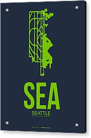 Sea Seattle Airport Poster 2 Acrylic Print by Naxart Studio