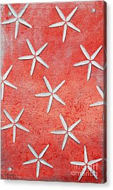 Sea Stars On Red Acrylic Print by Gabriela Valencia