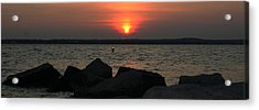 Sea Sun And Rocks Acrylic Print by Stephen Melcher