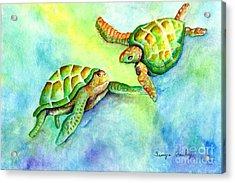 Sea Turtle Courtship Acrylic Print by Tamyra Crossley