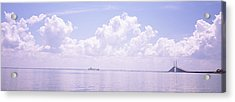 Sea With A Container Ship Acrylic Print by Panoramic Images