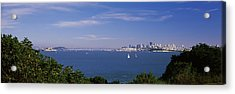 Sea With The Bay Bridge And Alcatraz Acrylic Print by Panoramic Images