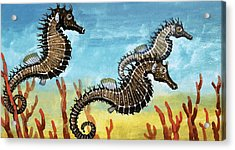 Seahorses Acrylic Print by English School